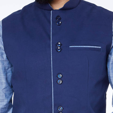 Navy Blue piping detailed bandi with blue kurta pyjama set for father son