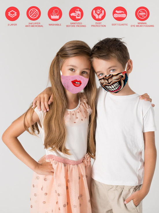 Quirky Bro & Sis Matching Protective Mask For Siblings ( Set Of 2)