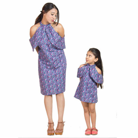 Mother-Daughter Navy Blue Off Shoulder Shift Dress