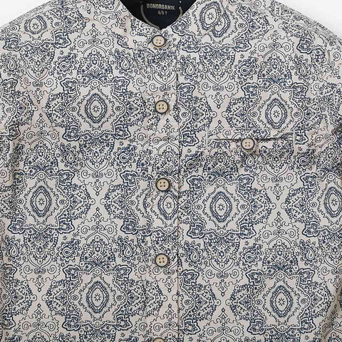 Paisley Print Mandarin Collar Shirt In Beige For Father-Son