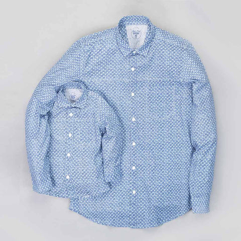 Father/Son Light blue printed denim shirt