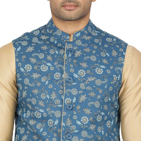 Printed teal blue  light gold kurta & pyjama for father-son