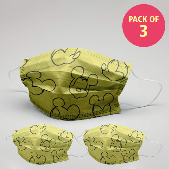 Kids Yellow Micky Mouse Printed Protective Masks( Set Of 3)