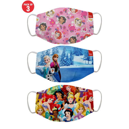 Disney Princess Printed Protective Kids Masks ( Set Of 3)