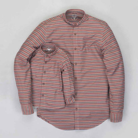 Father Son Brown Stripes mandarin collar shirt