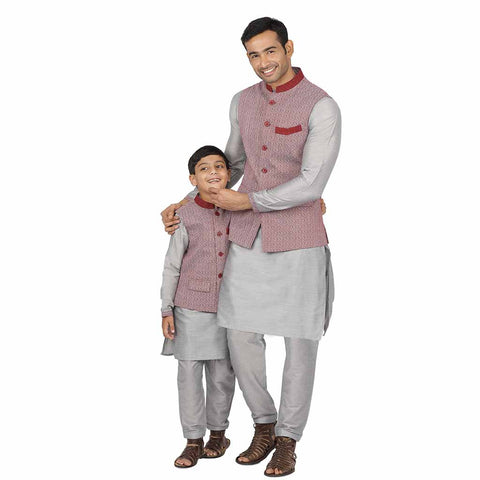 Maroon printed bandi with grey concealed placket kurta & pyjama for father-son