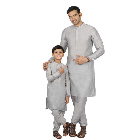 Grey Concealed placket kurta & Pyjama set for father-son
