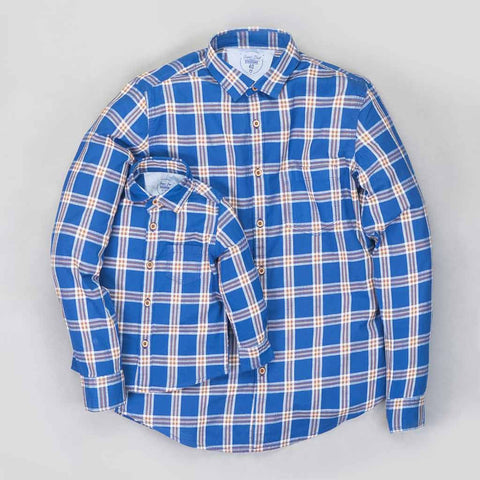 Blue checks full sleeve shirt for Father/Son