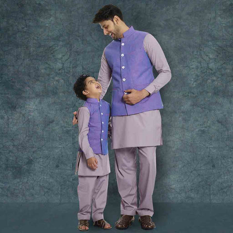 Light purple Bandi with Beige-ish pink kurta salwar set for Father-Son