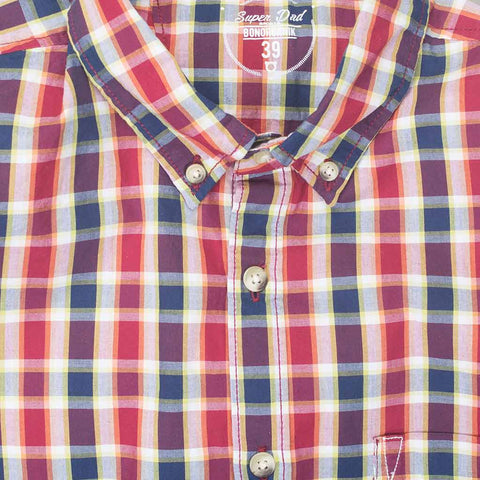Red Blue Gingham Button Down Father-Son Shirts