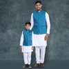 Turquoise Blue Embroidered Bandi with white kurta pyjama set for father son