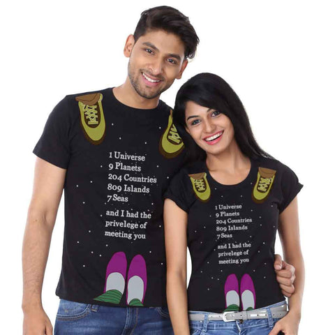1 Universe 9 Planets Couple Tees