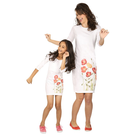 Digital floral print knitted short dress for mom daughter