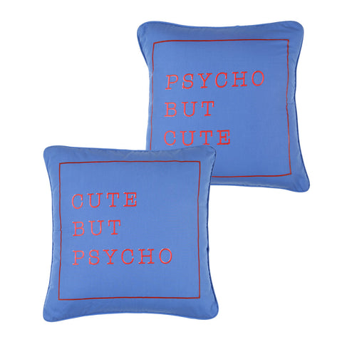 "Cute But Psycho,Pillow Cushion Cover Set of 2(16"" X  16"")"