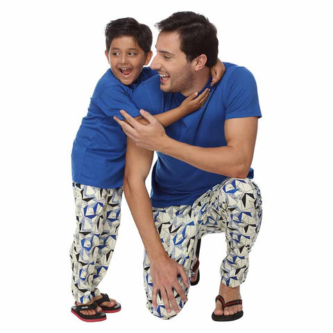 Blue Abstract Print Dad and Son Pyjamas