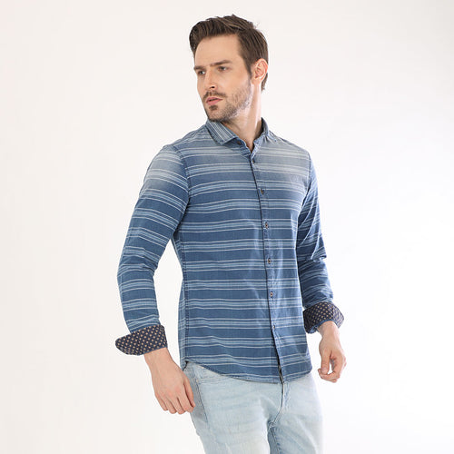 Denim Horizontal Stripes Full Sleeves Matching Shirts For Dad And Son