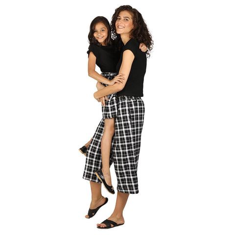 Black culottes with Tee for mom & daughter