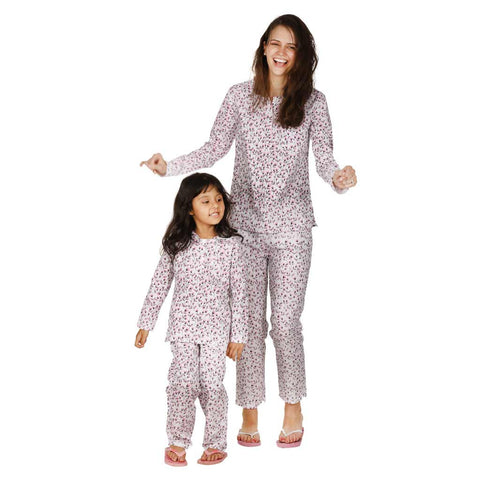 Pink Floral Print Sleepwear Set For Mom & Daughter