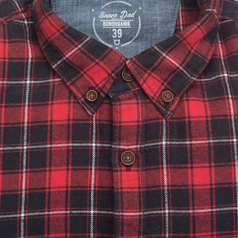 Scottish checks flannel full sleeve shirts for father son