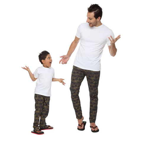 Navy Blue Abstract Art Dad and Son Pyjamas