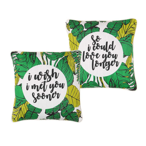 "I Wish I Met You Sooner,Pillow Cushion Cover Set of 2(16"" X 16"")"