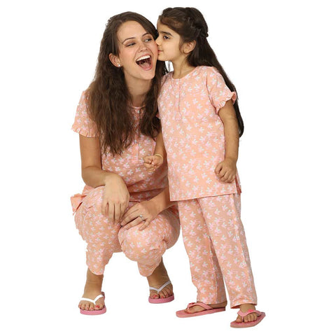 Ruffled Sleeve Peach Soft Cotton Sleepwear Set For Mom & Daughter