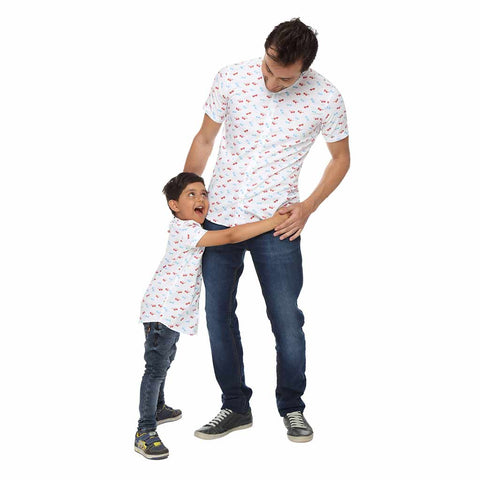 Specs print dad and son shirt