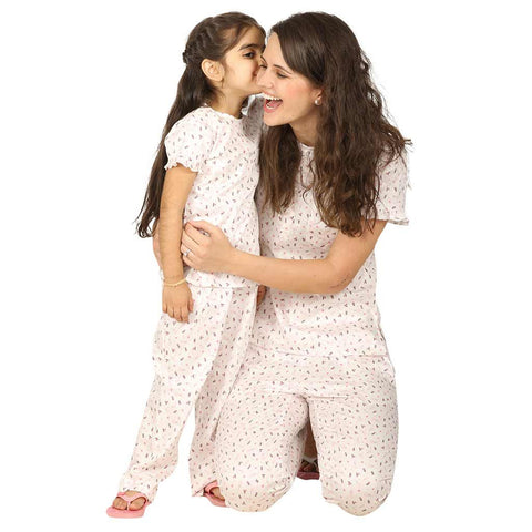 Ruffled Sleeve Floral Print Sleepwear Set For Mom & Daughter