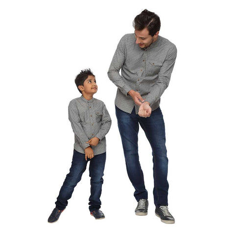 Grey Printed Dad and Son Shirt