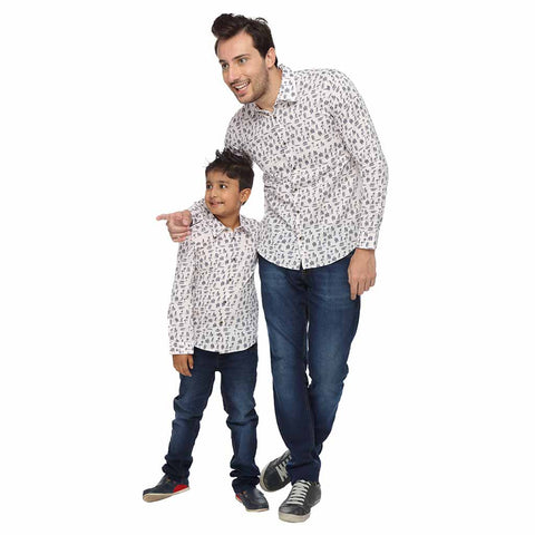Beach Abstract Pattern Dad and Son Shirts