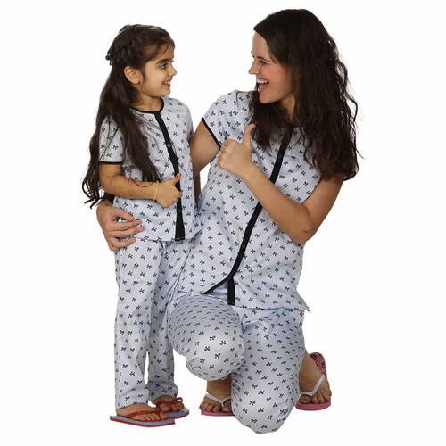 Bow Print Half Sleeve  Cotton Sleepwear Set For Mom & Daughter