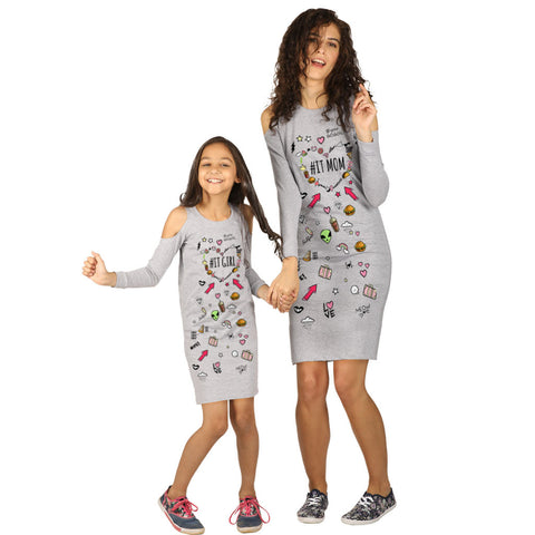 Grey Melange cold shoulder knitted dress for mom daughter