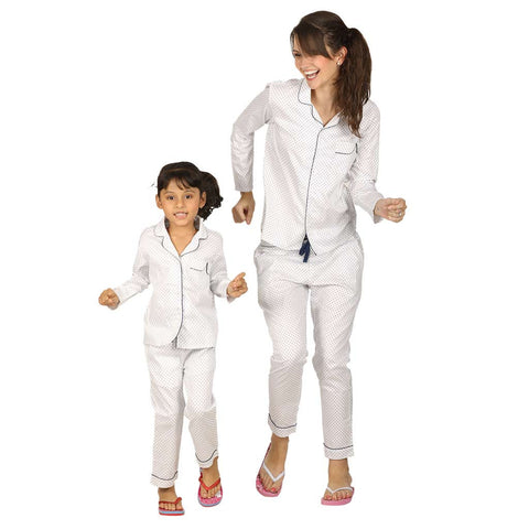 Polka Dot Stylysed Pocket Sleepwear Set For Mom & Daughter