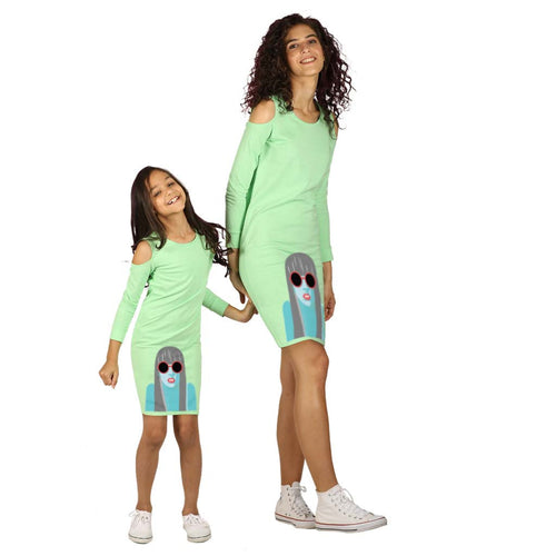 Green cold shoulder knitted dress for mom & daughter
