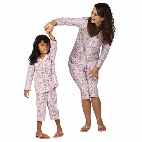 Pink Floral Capri Style Sleepwear Set For Mom & Daughter