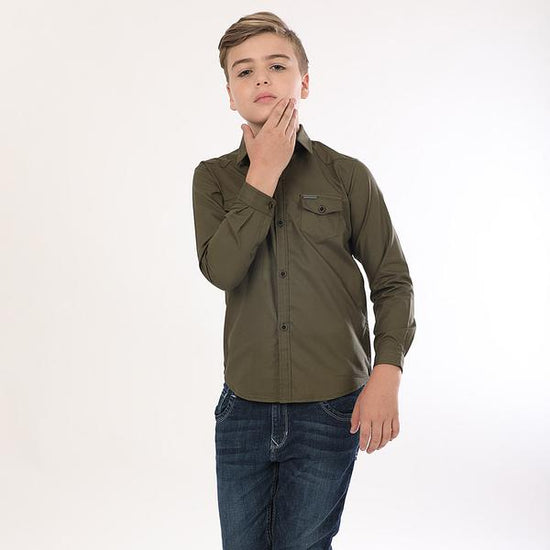 Bottle Green Full Sleeves Shirts For Boy