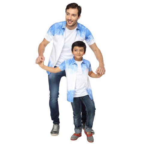 Blue Watercolour Stroke Print Dad and Son Shirt