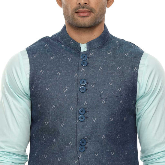 Aqua blue abstract bandi with pastel green kurta and white pyjama set for father-son