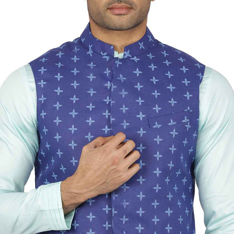 Blue geometric print bandi with pastel green kurta & pyjama for father-son