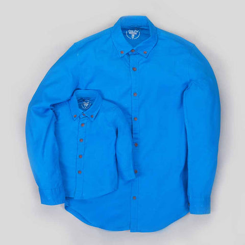 Father Son Button down Collar full sleeve blue shirt