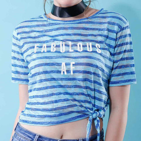 Fabulous AF, Matching Blue And White Striped Crop Tops For Bffs