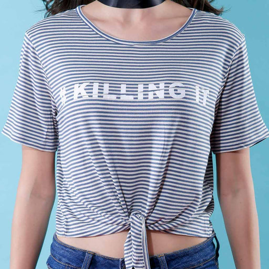 #Killing It, Matching Grey And White Striped Crop Tops For Bffs