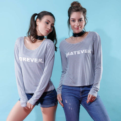 Forever/Whatever, Matching Grey And White Striped, Fullsleeves Tops For Bffs