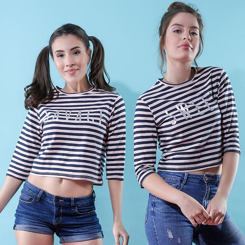 Savage/Sweet, Matching Black And pink Striped Crop Tops For Bffs