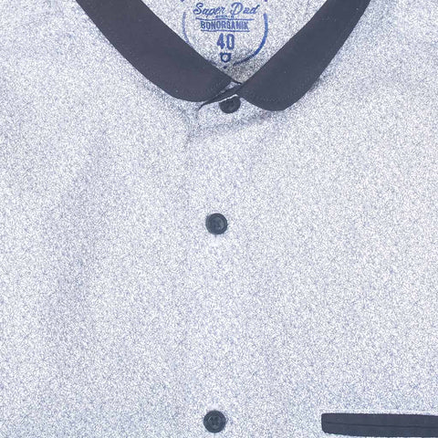 Father/Son Mandarin layered collar white printed shirt