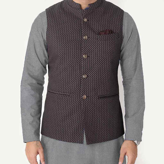 Navy Printed Bandi With Light Grey Kurta & White Pyjama Set For Father-son
