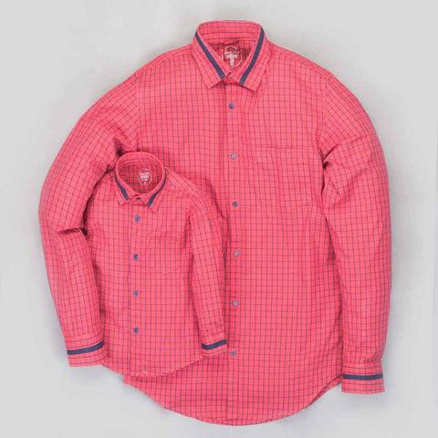Red/blue checks button down collar shirt for father son