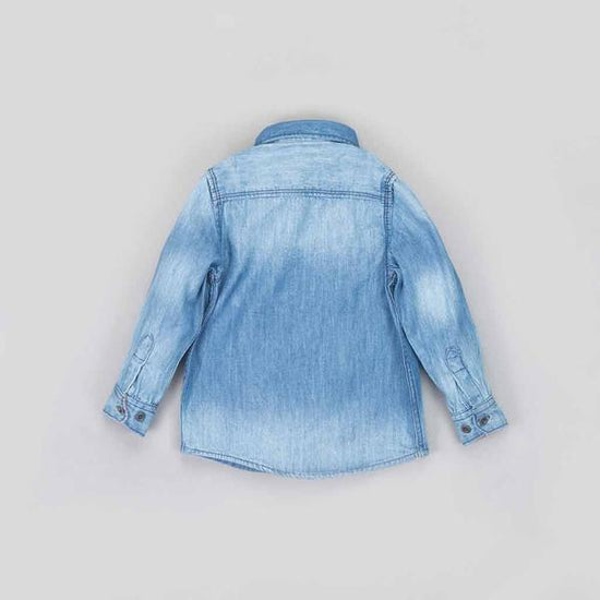 Washed Blue Denim Shirt For Boy