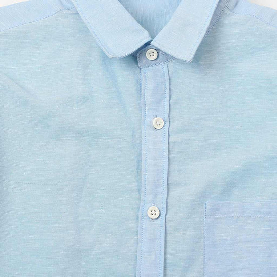 Light Blue Linen Matching Shirts For Dad And Son