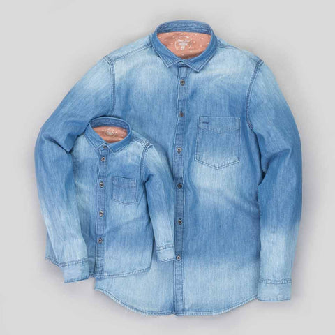 Father/Son Washed blue denim shirt